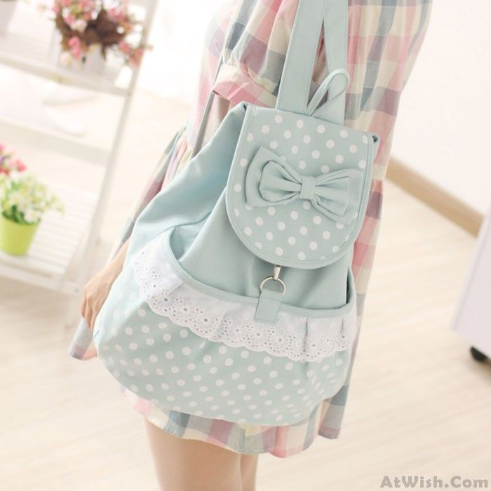 Wow~ Awesome Summer Sweet Lovely Polka Dot Bow Backpacks! It only $31.99 at www.AtWish.com! I like it so much<3<3!