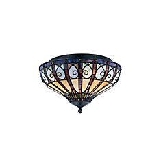Monroe 2 Light Vintage Bronze Incandescent Flush Mount with a Tiffany Style Shade