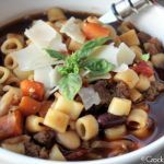 Crock-Pot Pasta Fagoli Soup (Olive Garden Copycat Recipe) – If you love the Pasta Fagoli Soup at Olive Garden restaurants you are going to LOVE this copycat version that you can make in your slow cooker! This recipe for Crock-Pot Pasta Fagoli Soup is warm and hearty full of flavorful vegetables, beans, ground beef and pasta all swimming in a delicious Italian broth! | CrockPotLadies.com