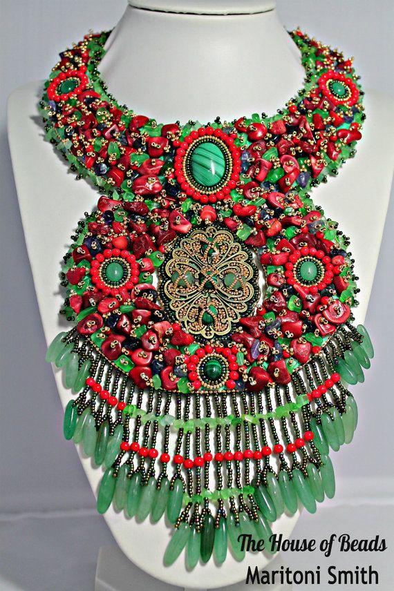 Malachite Aventurine Gemstones necklace bead by TheHouseofBeads