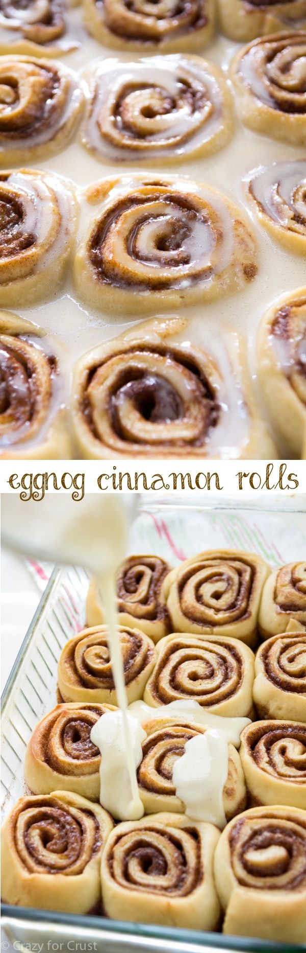 Eggnog Cinnamon Rolls made with eggnog in the dough and in the glaze! The perfect breakfast for Christmas morning.