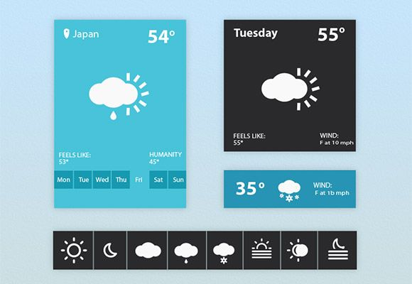A weather user interface including some sample widgets and nice weather icons. Free PSD designed by Arslan Ali Khasheli.