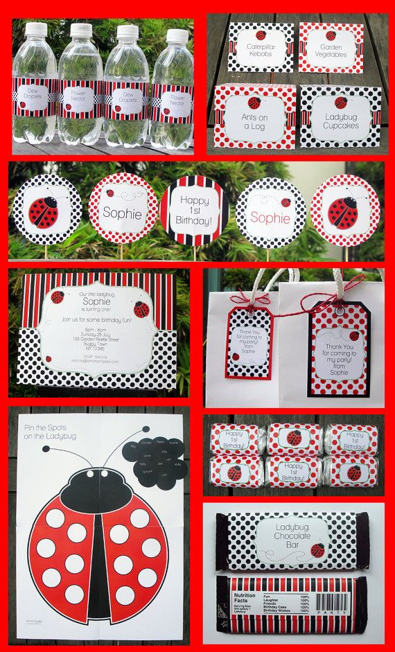 Just ordered this for my sister's baby shower! Ladybug Party Invitation & Printable Party by SIMONEmadeit on Etsy, $14.95