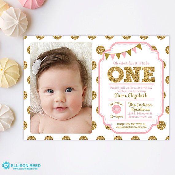 1e verjaardagsuitnodiging roze en goud uitnodiging door EllisonReed