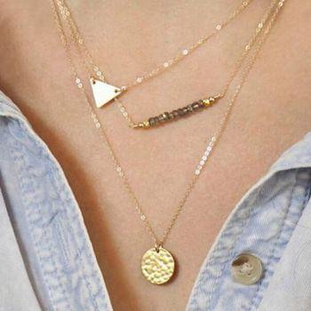 1 x Retro colar Vintage triângulo paetês feminina corrente de ouro Multi layer colar curto Hot