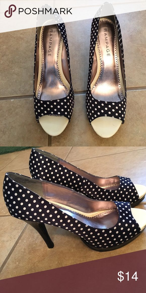"""Rampage Gracee heels!👠👠 Super cute navy with white polka dot heels. Worn just a few times, just a couple scrapes, nothing noticeable. Navy  patent heel & 1/2"""" platform. Heel height 4.5"""". Original box included. They will look great with your summer outfits!🌞 Rampage Shoes Heels"""