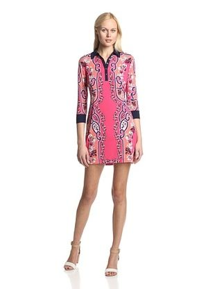 52% OFF Ali Ro Women's Kyoto Shirt Dress (Bright Coral Multi)