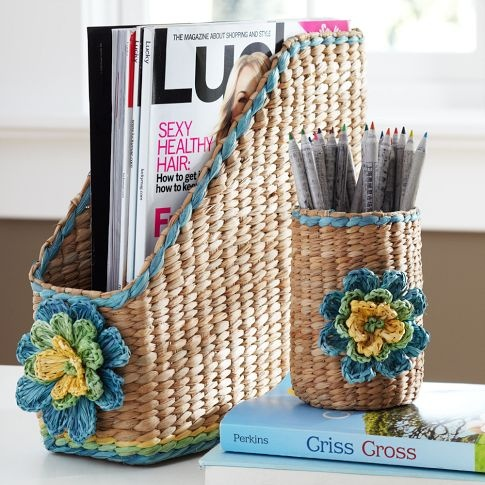 Tropical Floral Woven Desk Accessories