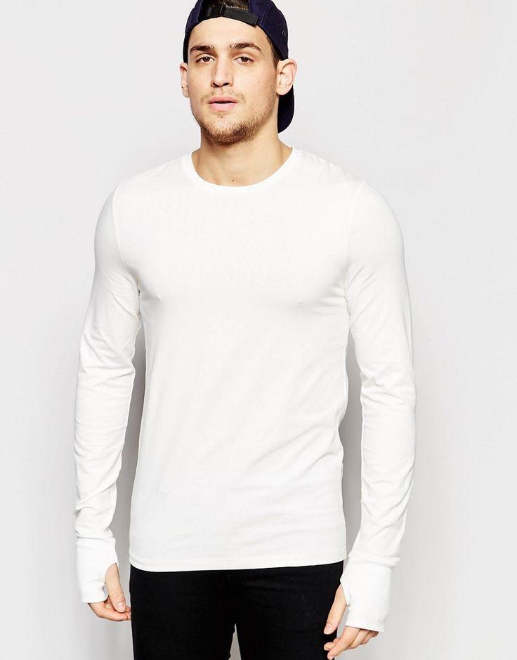 Seje ASOS Muscle Long Sleeve T-Shirt With Thumbholes In Off White - Off white ASOS Plain til Herrer i dejlige materialer