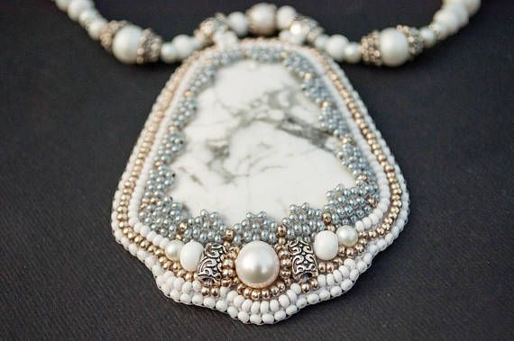 White Howlite embroidered pendant necklace statement pearl