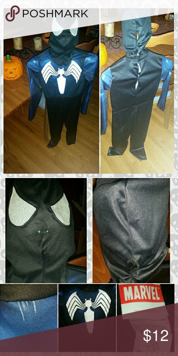 Kid's Black Spiderman Costume Black Spiderman Costume - 2 pieces (mask and jumpsuit), velcro closuees, very good pre-owned condition, smoke-free home. *There is a small area of fraying at the neckline of the jumpsuit (see photo), but it does not show when mask is worn. Marvel Costumes