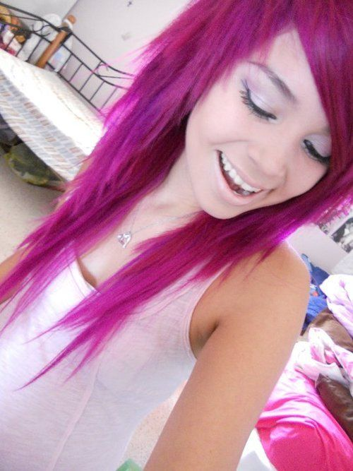 Purple hair... or blue... Some kind of punk rocker chick hair. ...if only I was punk rocker enough to pull it off. #wish