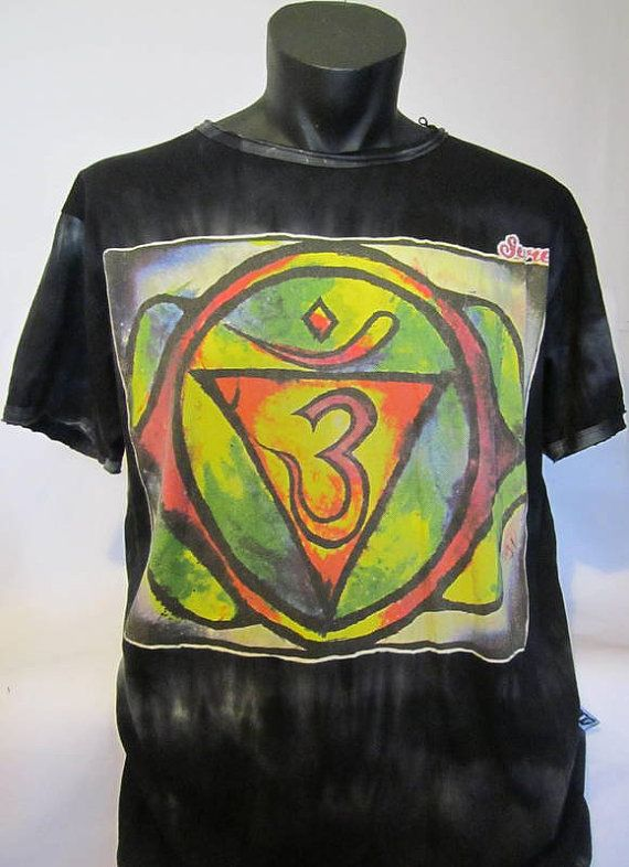 TIE DYED  Cotton T Shirt With OM Symbol by isoleynz on Etsy