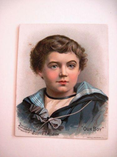 Victorian-Trade-Card-for-034-Scott-amp-Bowne-034-Scott-039-s-Emulsion-w-Beautiful-Litho