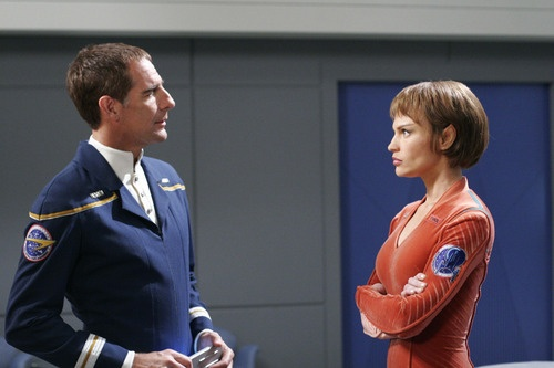 """""""T'Pol and Captain Archer"""" I like that she wasn't blonde and ditzy in this show. Maybe that's why it got cancelled... :("""