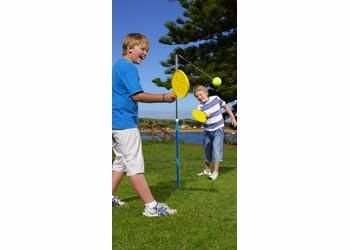 """Fast 2 player bat and tethered tennis ball game for the playground, park or beach. Orbit Tennis includes """"in ground"""" powder coated base pole and chrome plated"""