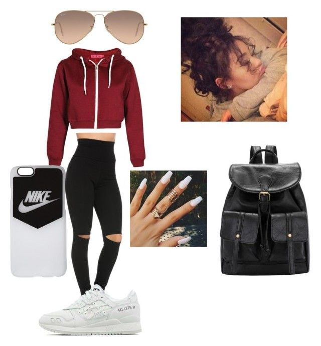 """High Point Lacrosse >> """"Chill Baddie Outfit"""" by itsameiliaaah liked on Polyvore featuring Asics, NIKE and Ray-Ban 