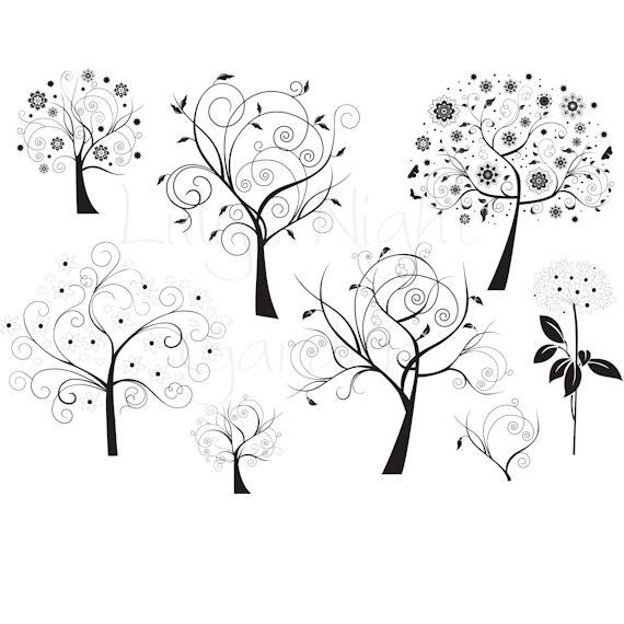 Zentangle Trees: Digital Stamps, Trees, Digi Stamps, 'Stylized Trees' #craftyfolk