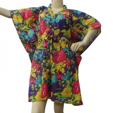 Beautiful Floral Print Women Kaftan For Women Cotton Short Caftan Gypsy Size Xxs
