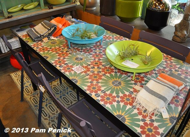i love this tile top table great for the deck or patio or inside in the kitchen potted garden shop in los angeles