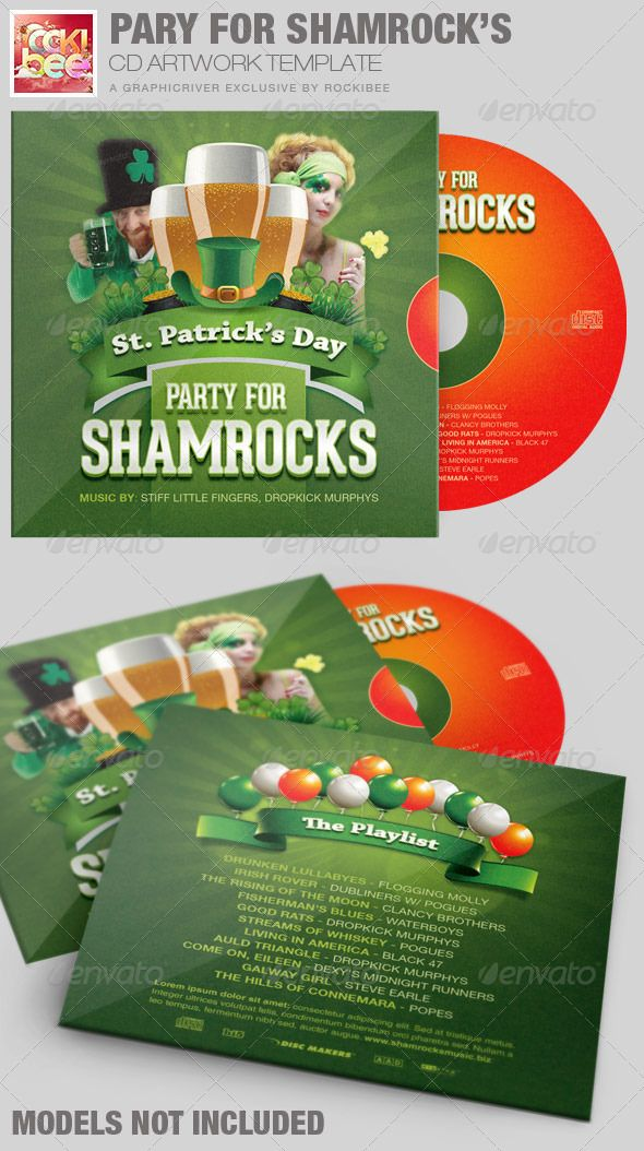 This Party For Shamrocks St-Patricks CD Artwork Template is sold exclusively on graphicriver, it can be used for any photographer, author or recording artists and Poets that need a modern and unique look. It can be used for media players, iTunes sales, audio books, demos, mixtapes, DJ's, parties, weddings, and lots more.