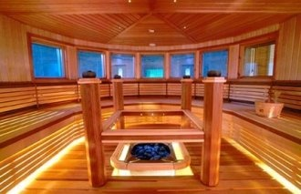 Commercial sauna installation by Springs Sauna Company. Authentic Finnish Saunas.