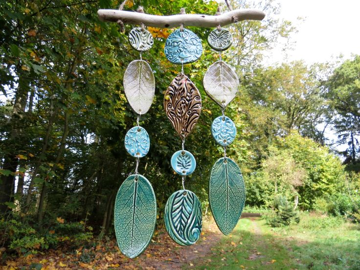 Ceramic Wind Chime Wind Bell Mobile with Driftwood by gedemuck
