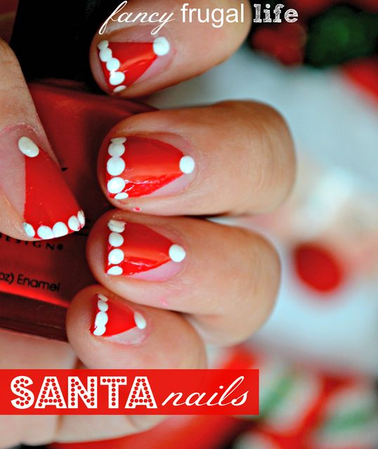 Great Christmas nail art! Love these Santa hat nails! See more party ideas at CatchMyParty.com! #christmas #nailart #santa