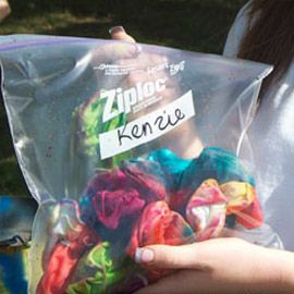 Tie dye instructions. Print and staple to zip lock bag- This week's Art Club!