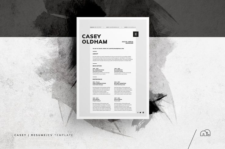 Resume/CV - Casey - Resumes - For those looking for a professional template, 'Casey' offers a unique 2-page minimal​ design, plus matching cover letter (including sample letter).