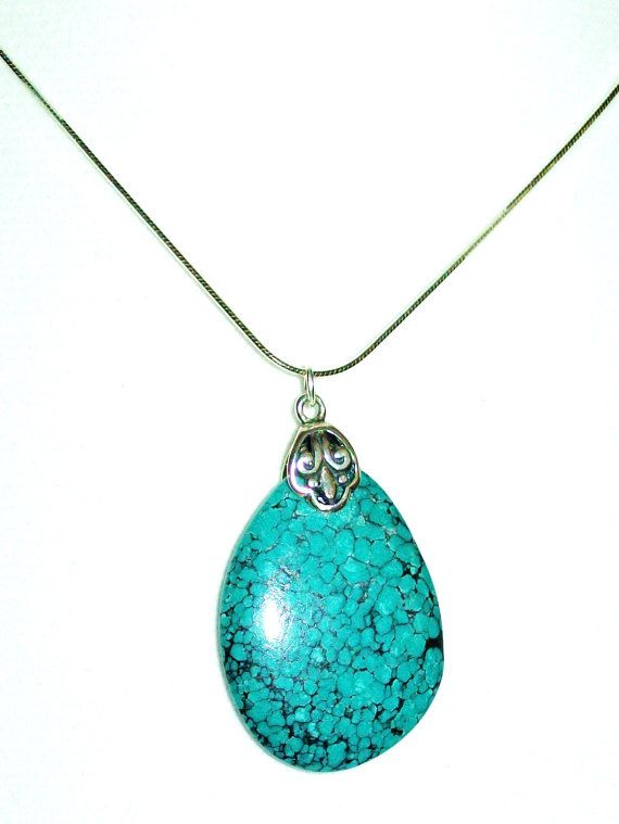 Genuine Turquoise 30mm Sterling Silver by WestStoneWearJewelry
