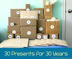 30 Presents for 30 Years is a fun 30th birthday gift idea for someone special in your life. Celebrate this milestone birthday in a big way!