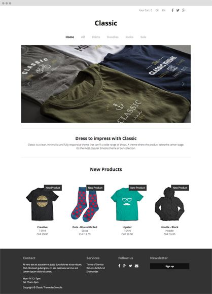 Smoolis Theme - CLASSIC - Classic is a clean, minimalist and fully responsive theme that can fit a wide range of shops. A theme where the product takes the center stage. It's the most popular Smoolis theme of our collection.