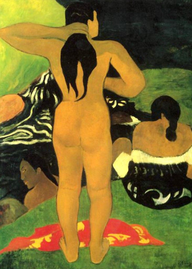 Paul Gauguin - Tahitians at the Beach   Paul Gauguin was a leading French Post-Impressionist artist. He was an important figure in the Symbolist movement as a painter. His bold experimentation with coloring led directly to the Synthetist style of modern art while his expression of the inherent meaning of the subjects in his paintings, under the influence of the cloisonnist style, paved the way to Primitivism and the return to the pastoral.