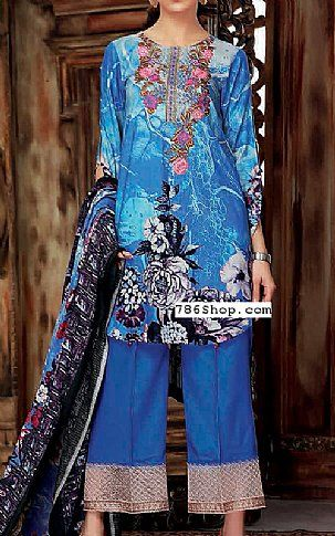 Blue Linen Suit | Buy Maya Pakistani Dresses and Clothing online in USA, UK