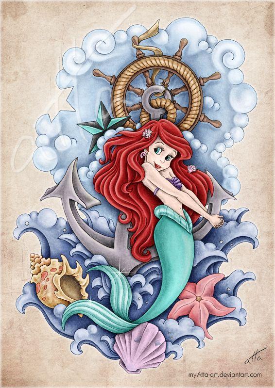 Arielle by myAtta-art.deviantart.com on @deviantART #tattoo #littlemermaid