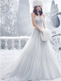 Ball Gown Sweetheart Neckline Cathedral Train Tulle Bridal Dress With Sequin