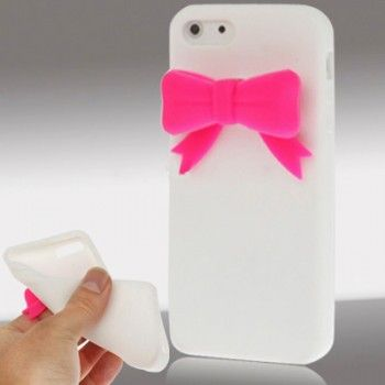 Bow Pattern Silicon Case for iPhone 5 - White