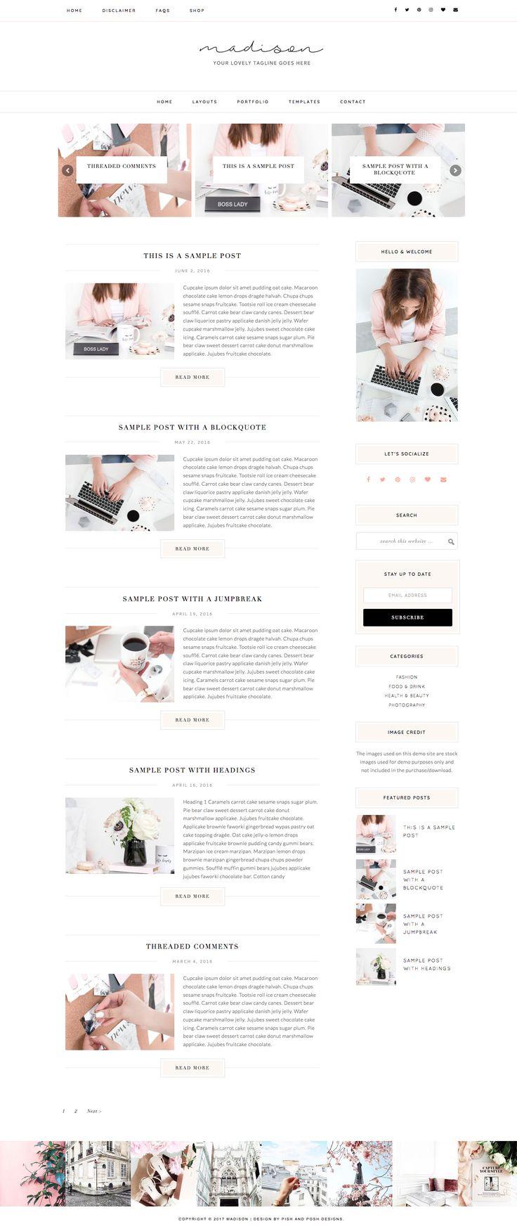 Madison Premium WordPress Theme - Pish and Posh Designs