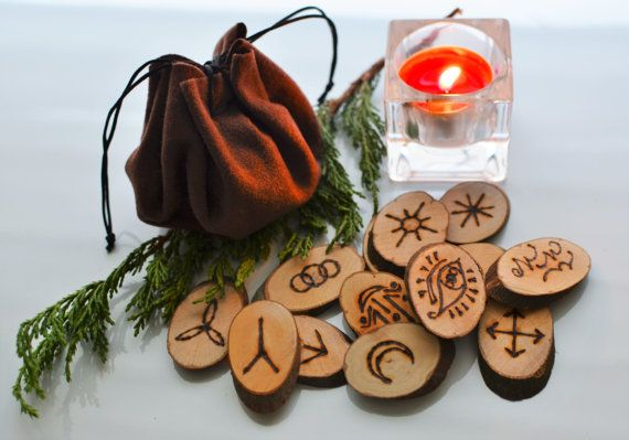 Witch Runes Set Handcrafted with Leather Pouch and Rune Meanings Card, Wood Rune Reading Wicca Pagan