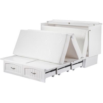Features:  -Easy to use space saving design.  -Extra large storage drawer.  -Queen size folding premium memory foam mattress.  -Mattress pull handles for easy opening and closing.  -Satin finished har