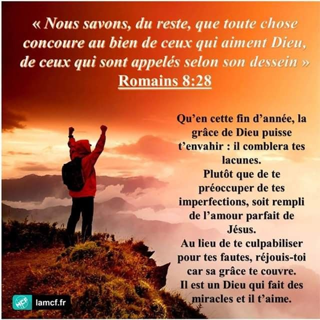 AMonPére Dieu travaille pour toi « Nous savons, du reste, que toute chose  concoure au bien de ceux qui a… | Citation spirituelle, Romains 8 28, La  grâce de dieu