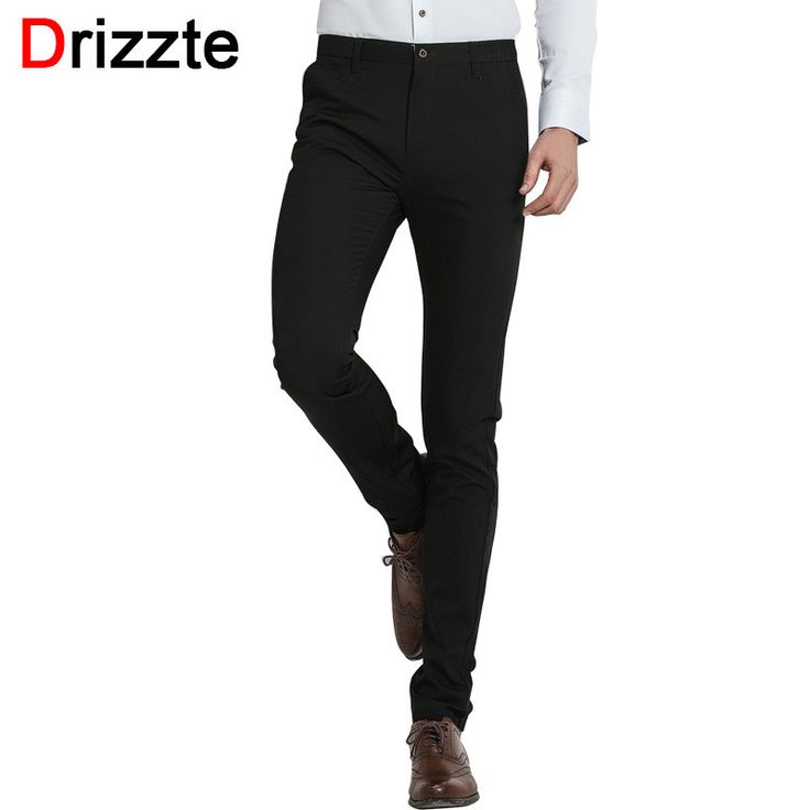 Drizzte Quality Mens Classic Black Stretch Casual Formal Dress Pants Horse Steppe Print Waist Trousers Black