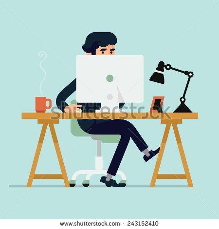 stock-vector-vector-modern-flat-design-illustration-on-businessman-character-working-with-desktop-computer-243152410.jpg (450×470)