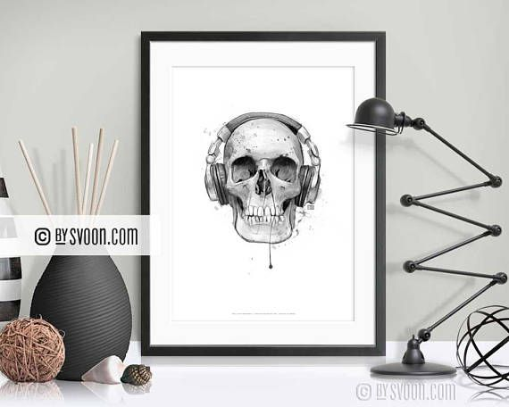 Check out this item in my Etsy shop https://www.etsy.com/listing/562467643/skull-with-headphones-print-skull-poster
