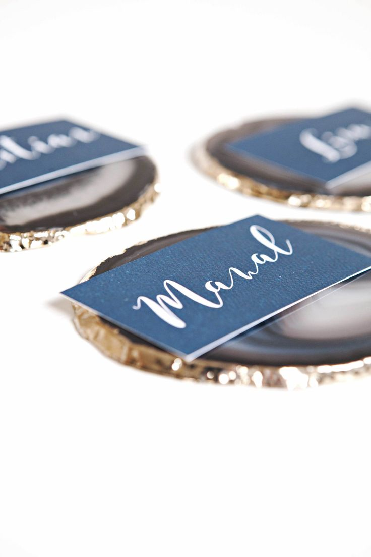Place cards stunningly styled with @hautecoshop agate coasters for wedding staionery designed by @bellelovespaper