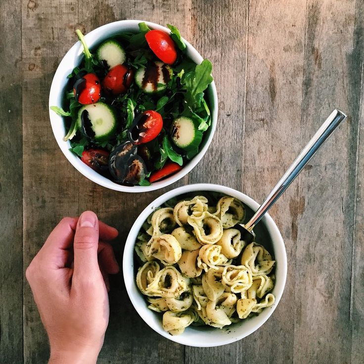 cheese tortellini with pesto and side salads for an easy, lazy dinner.