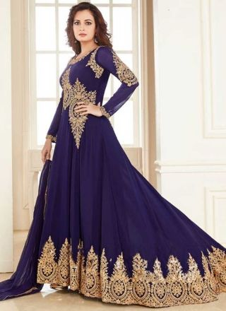 Navy Blue Embroidery Work Georgette Designer Wedding Bollywood Anarkali Suit http://www.angelnx.com/Salwar-Kameez/Bollywood-Salwar