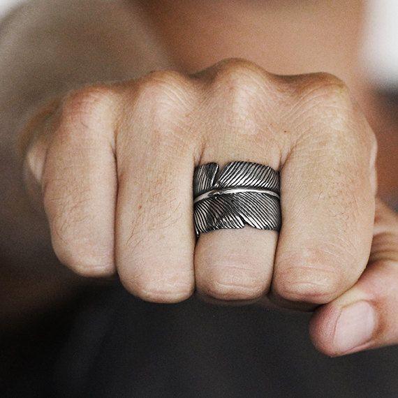 Pluma plata anillo único para hombres y por carpediemjewellery
