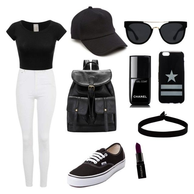 """Who doesnt love black?!⚫️"" by lukeingatyoucal ❤ liked on Polyvore featuring Topshop, Vans, rag & bone, Quay, Givenchy, The Flexx, Chanel and Smashbox"